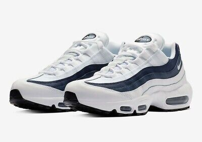 NIKE AIR MAX 95 Essential Trainers White Midnight Navy