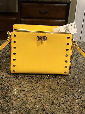 72067f3a105c28 NWT Michael Kors Sylvie Stud Medium Leather Messenger Crossbody Handbag
