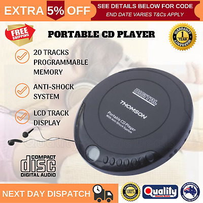 THOMSON Portable CD Player Discman Walkman Music Player Earphones Included NEW