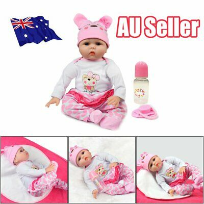 "22"" Newborn Doll Real Lifelike Silicone Reborn Baby Dolls Toddler Girl Gift DM"