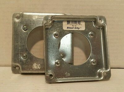 """Lot of 2 Steel City RS-13 4""""×4"""" Square Outlet Covers New"""