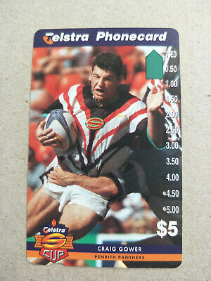 Used $5 Telstra Cup - Penrith Panthers - Craig Gower Phonecard Prefix 1506