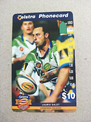 Used 1 Hole $10 Telstra Cup Canberra Raiders Laurie Dale Phonecard Prefix 1507