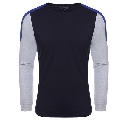 New Mens Casual O-Neck Long Sleeve Patchwork Pullover T-Shirt WT88