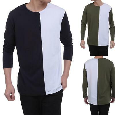 Men Casual Long Sleeve O Neck Patchwork Contrast Color Loose Pullover WT88 01