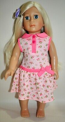 "American Girl Dolls Our Generation 18"" Doll Clothes  Pink Floral Waffle Dress"