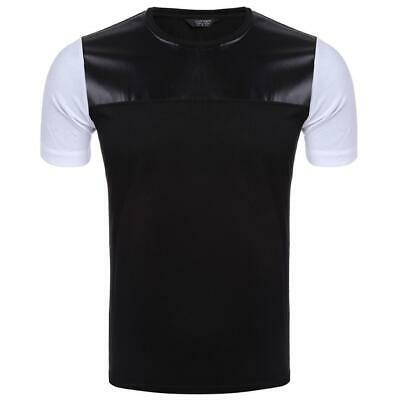 Men Casual Short Sleeve O Neck Leather Patchwork Slim Pullover T-Shirt WT88 02