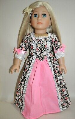 American Girl Dolls  Our Generation 18 Doll Clothes Black Floral Peasant Dress