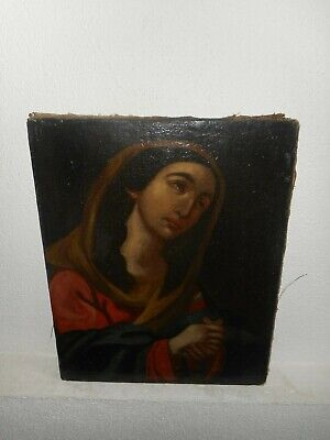 18th -19th century oil painting, Religious scene with a woman praying. Antique!