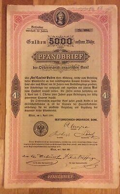 Austro-Hungarian Bank 4% Mortgage Bond 5000 Florins 1890 Wien Hungary