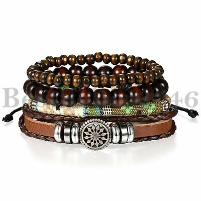 4pcs Retro Brown Braided Leather Tribal Beaded Cuff Wristband Women Men Bracelet