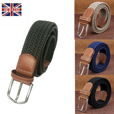 Mens Womens Elasticated PU Leather  Belts Canvas Stretch Trim Braided Belt UK