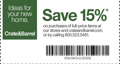 Crate & Barrel 15% off your entire purchase (Online, by phone or In Store)