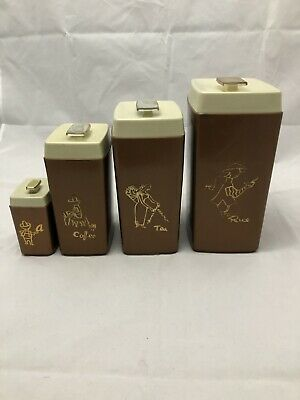 Set of 4 Nylex Australia Vintage Kitchen Canisters.