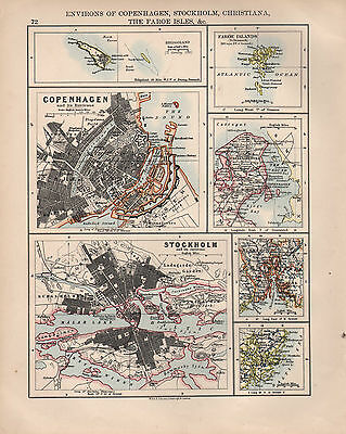 1897 Victorian Map ~ Environs Of Coopenhagen Stockholm Christiana Faroe Isles