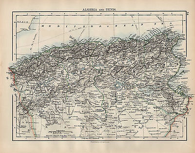1902 Map ~ Africa ~ Algeria & Tunis