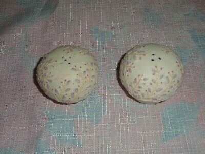 vintage porcelain pink and purple flowers salt and pepper shakers made in japan