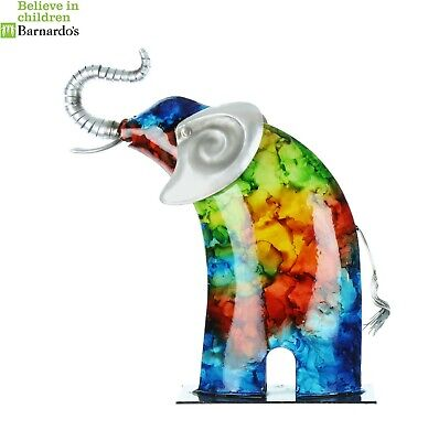 New Country Living Hand Painted Metal Elephant 62631 #Widdop