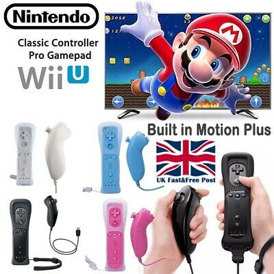 Built in Motion Plus Remote + Nunchuck Controller For Nintendo Wii Case Cover -