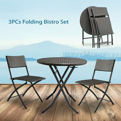 3 PCS Folding Patio Bistro Set Wicker Table 2 Chairs Garden Outdoor Furniture US