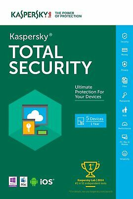 Kaspersky Total Security 2019 5 Devices PC 1 YR Global Worldwide Any Countries