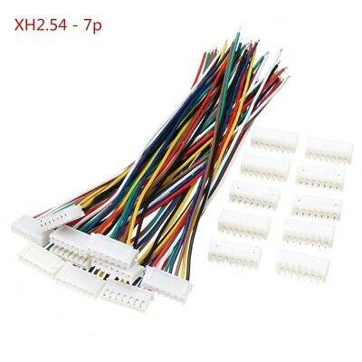 Excellway 10 Sets Mini Micro JST XH2.54mm 7 Pin Connector Plug Socket Wire Cable