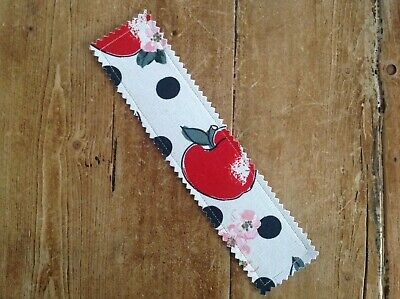 Handmade Cath Kidston Bookmark Snow White Apple Fabric 100% Real Leather Backed