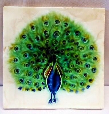 Tile Majolica Peacock Dancing Vintage Made In Japan Dk Art Nouveau Porcelain#269