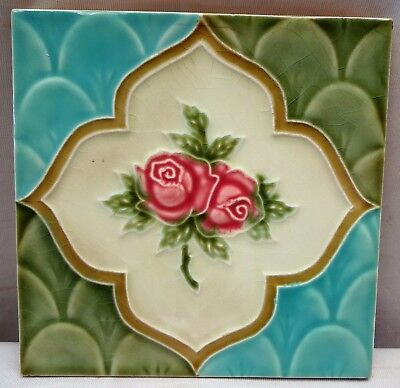 Tile Majolica Art Nouveau Vintage Saji Japan Rose Flower Design Collectibles