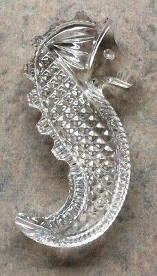 """WATERFORD SOCIETY :: 2004 ICONIC SEAHORSE 3 1/2"""" PAPERWEIGHT Cut Crystal IRELAND"""
