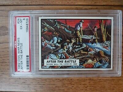 1962 Topps Civil War News #24 'after The Battle' Card Psa Ex - Mt 6