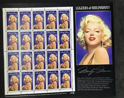 Marilyn Monroe Stamps 1995 Legends Of Hollywood Full Sheet Of 20 USA 32 Cents