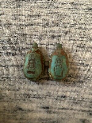 Set Of 2 Ancient Egyptian Artifact Scarab Pendants