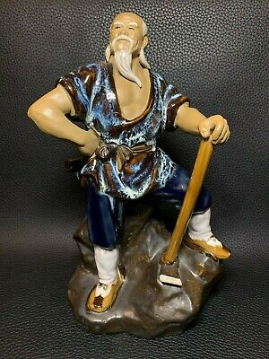 Chinese Mud Man Glaze Ceramic Figurine Ornament Proud Axe Worker Oriental Statue