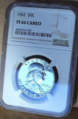 1962 FRANKLIN Half dollar Proof  NGC PF 66 Cameo