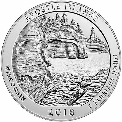 2018 ATB 5oz Silver Apostle Islands National Lakeshore Coin - With NEW Air-Tite