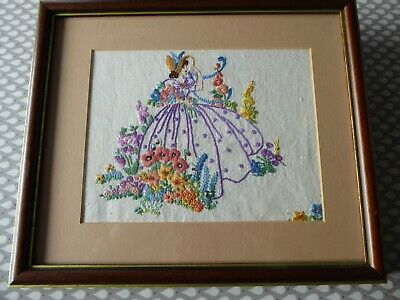 Vintage Hand Embroidered Picture Of Charming Embroidered Crinoline Lady-Framed