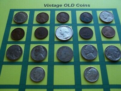 Estate Lot of Old Coins 50 to 125 Years Old with Some Silver  16 Coins  (OC1)