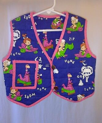 Homemade Vintage Youth Girls Flintstone Vest Pebbles, Bam Bam, Dino Large Sized