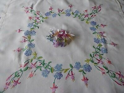 Vintage Hand Embroidered Tablecloth - Exquisite Flower Circle /trailing Fuschias