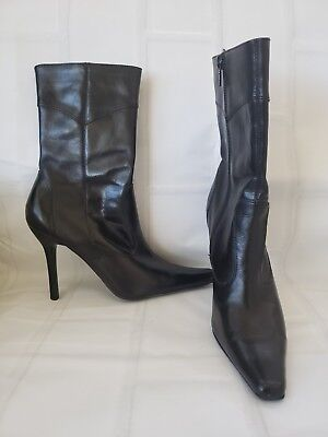 0460a319ac9 Steve Madden Vanity Leather Pointy Toe Stiletto Heel Mid Calf Boots Black  5.5