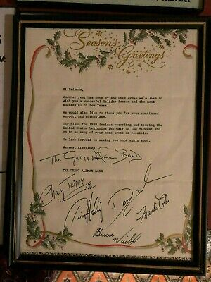 Allman brothers band Gregg's1988 Christmas Letter. Original