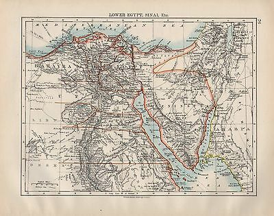 1899 Victorian Map ~ Africa ~ Lower Egypt Sinai