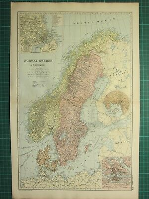 1893 Antique Map ~ Norway Sweden & Denmark Copenhagen Christiania Stockholm