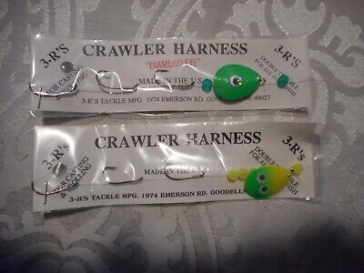 3-3-R/'S 12 INCH 3 HOOK CRAWLER HARNESS/'S  NEW IN PKG Green And Glow KBB-10448