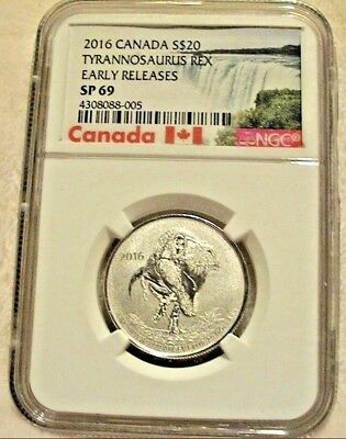 2016 Ngc Canada Sp 69 Tyrannosaurus Rex Early Releases 1/4 Oz $20 99.9% Silver