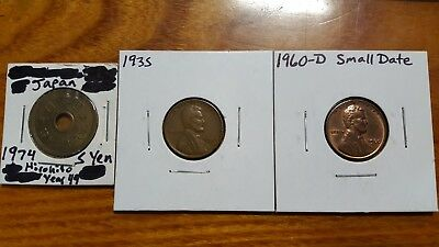 😎1974 JAPAN 5 YEN😎1935 WHEAT 1960 D SMALL DATE MEMORIAL Lincoln Penny Cent Lot