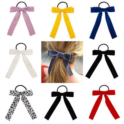 Elastic Elegant Bowknot Ponytail Holder Bow Ties Scrunchie Hair Rope Band Velvet