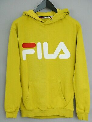 033e0654da MEN FILA HOODIE Hooded Yellow Cotton Blend Pullover S XKM508
