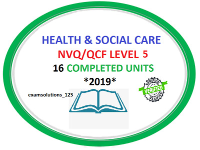 NVQ/QCF Level 5 Diploma Health and Social care Answers 16 UNITS *QUICK DISPATCH*
